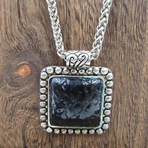 "Jewelry - 30"" Rustic Black Inlay Pendant Necklace Vintage"